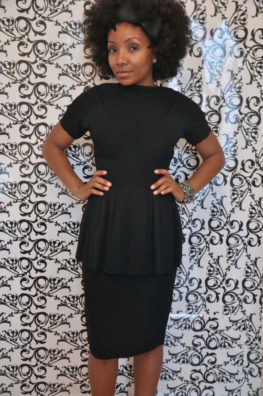 Vintage Black V Back Formal Dress with Metal Zipper