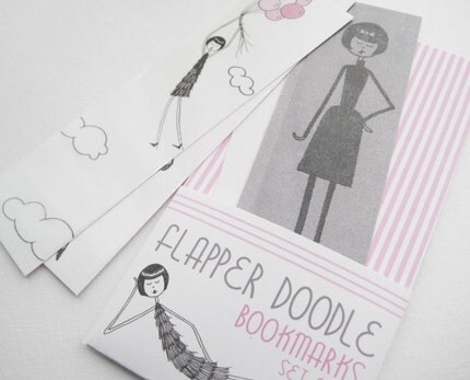 Flapper Doodle bookmarks - set of five