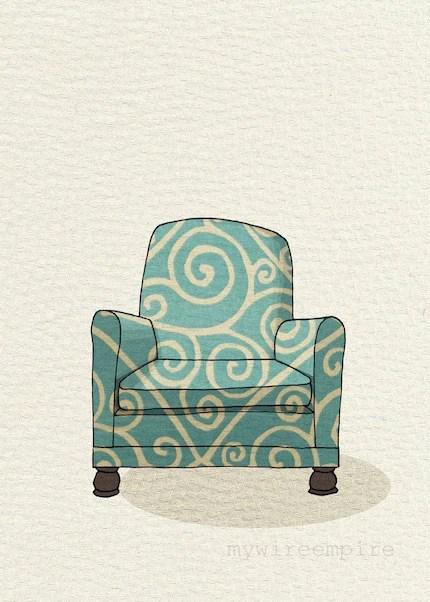 modern chair 1 (teal swirl) - 5x7 print