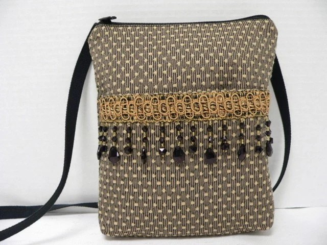 Lisa Black and Tan Textured Upholstery  Zipper Closure Shoulder Bag