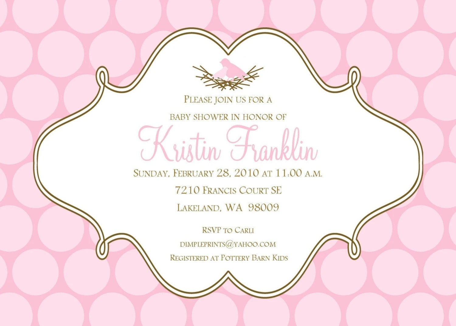 Bird Nest PolkaDots II...Custom You Print Digital Baby Shower Invitation
