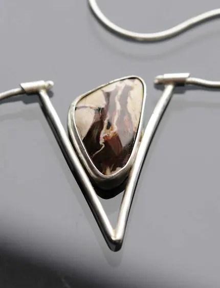 Argentium Silver and Petrified Peanut Wood Pendant by Kaelin Design