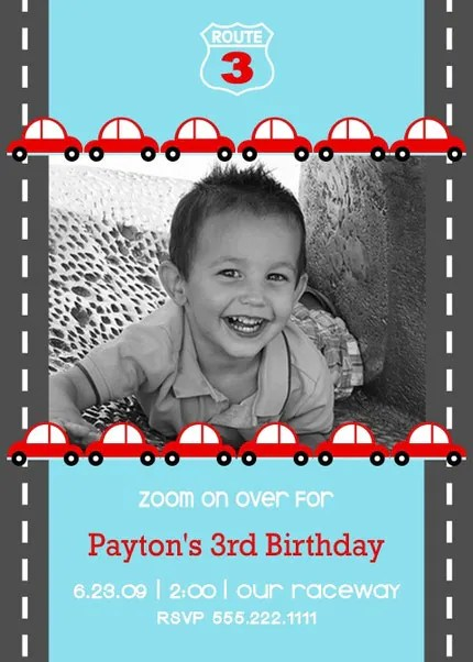 Little Red Car...Custom You Print Digital Photo Birthday Invitation by DimplePrints