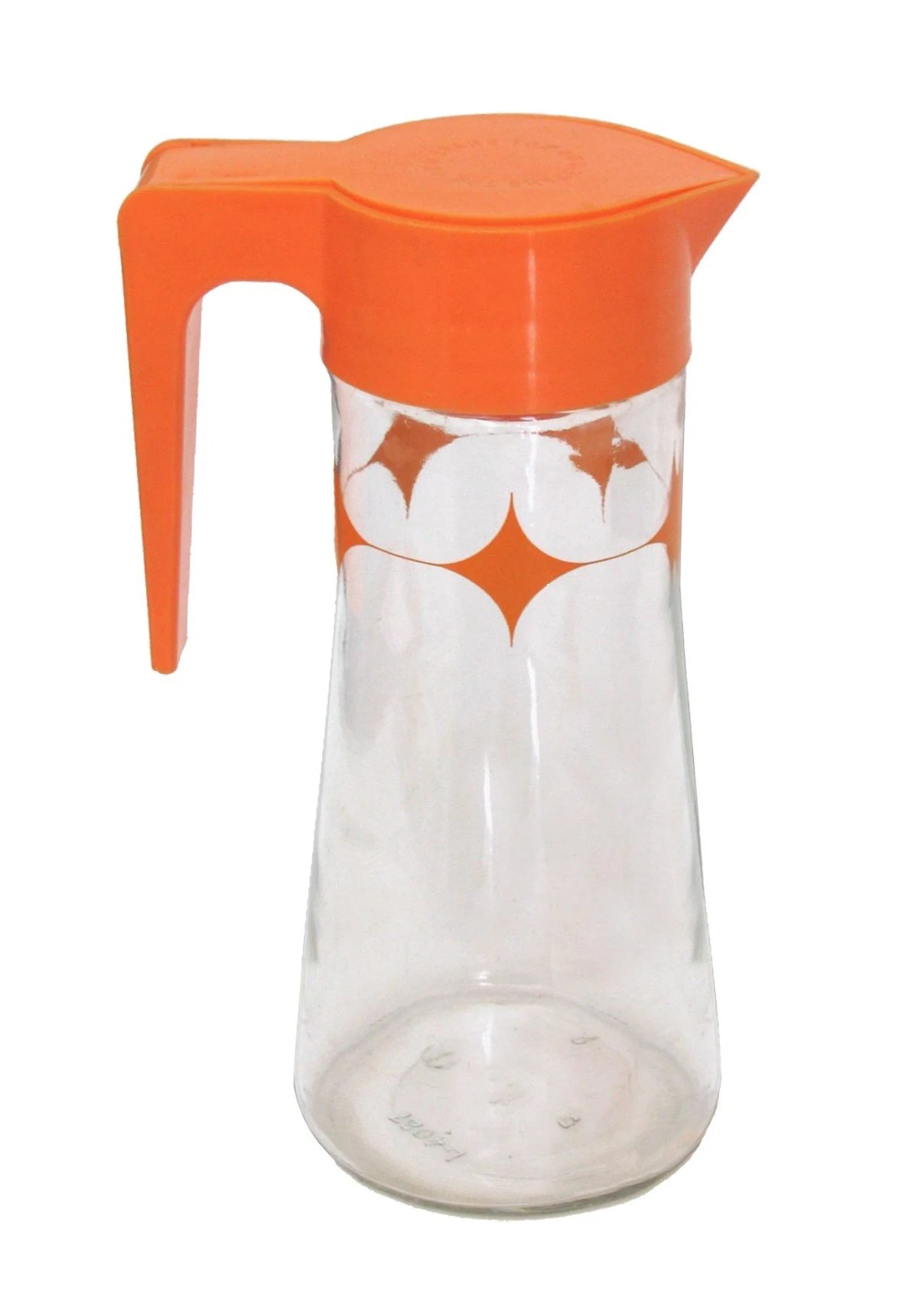 RETRO vintage PITCHER summmer FUN Anchor Hocking SUMMERTIME LEMONADE or ICED TEA or Tang pitcher carafe ORANGE juice kitchen serve entertain cheap collection