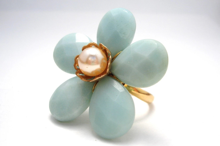 Amazonite flower ring
