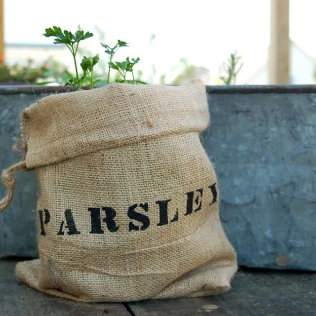 Mini Burlap Bag with Parsley