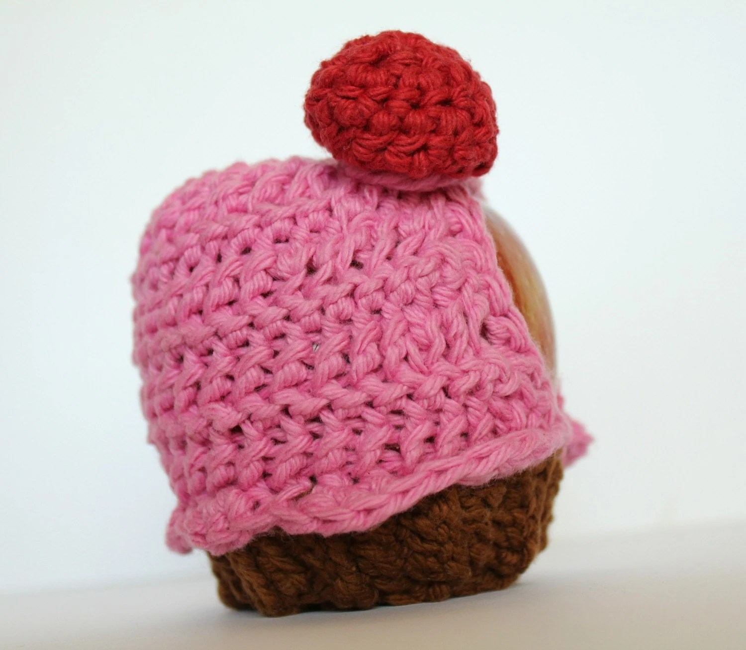 crochet apple cozy cupcake with cherry on top