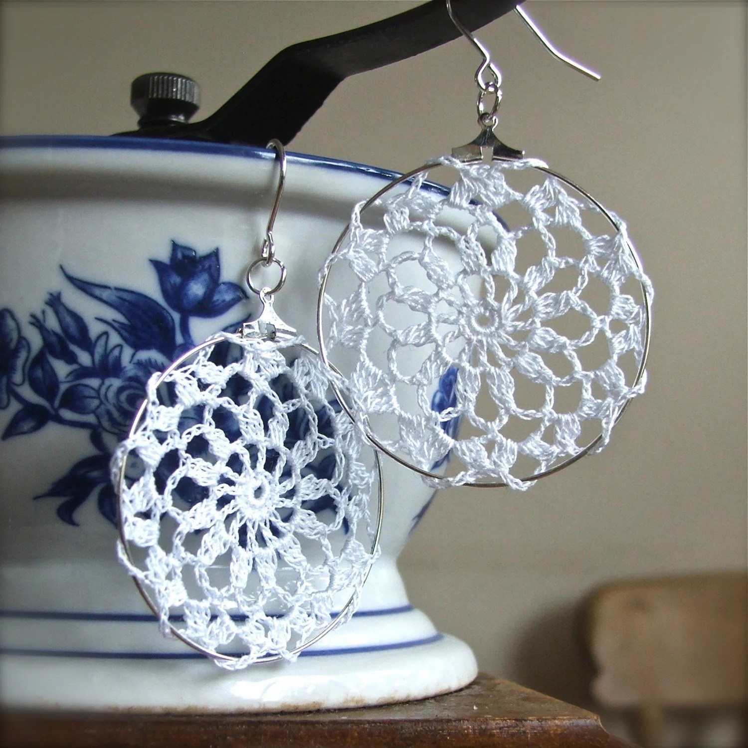crochet doily earrings