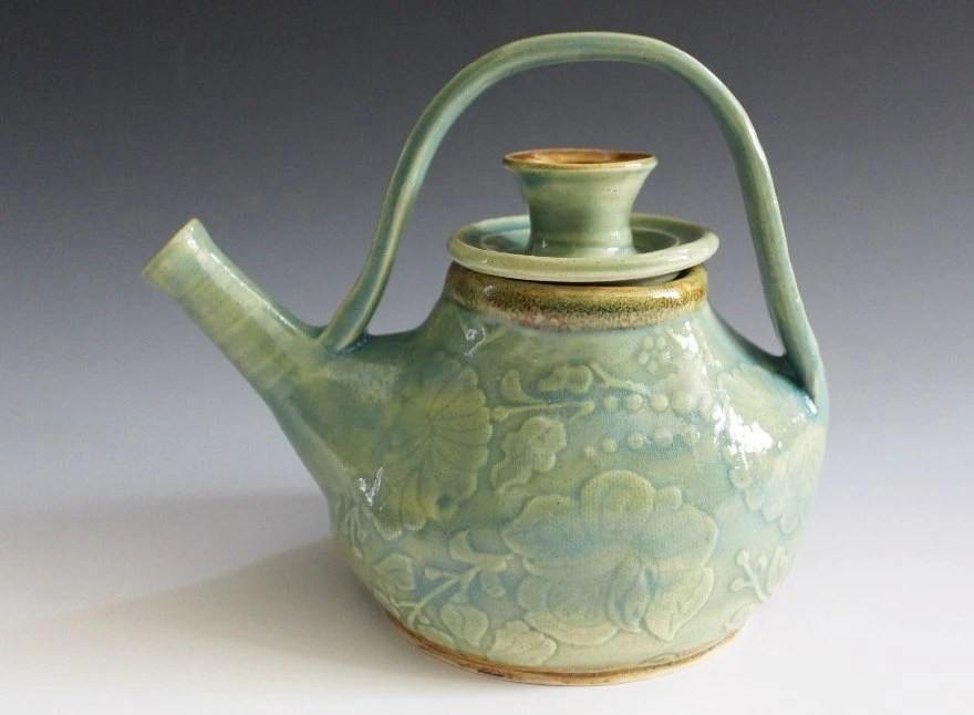 He Said She Said Teapot in Copper Blue