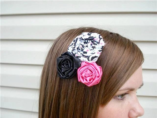 Hot Pink  Black and White Rosette Hair Clip