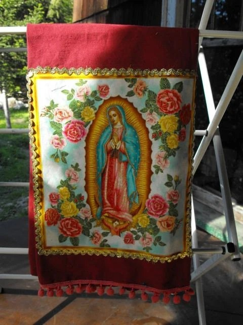Kitchen tea dish towel, Virgin of Guadalupe, Mary, free shipping