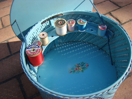 Vintage Blue Wicker Sewing Box