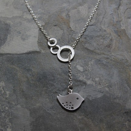 Sweet Tweet -  Modern Bird Lariat in Silver