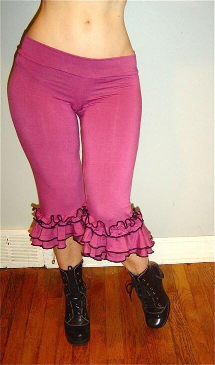 DUSKY PINK CAPRI RUFFLE PANTS, SALSA PANTS, PIRATE PANTS