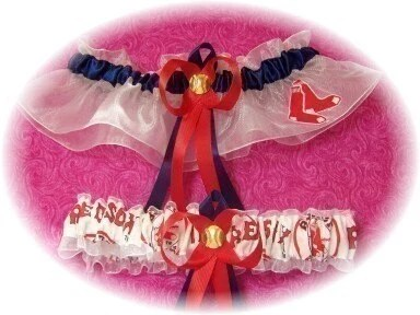 BOSTON RED SOX Inspired Wedding Garter Set  Navy