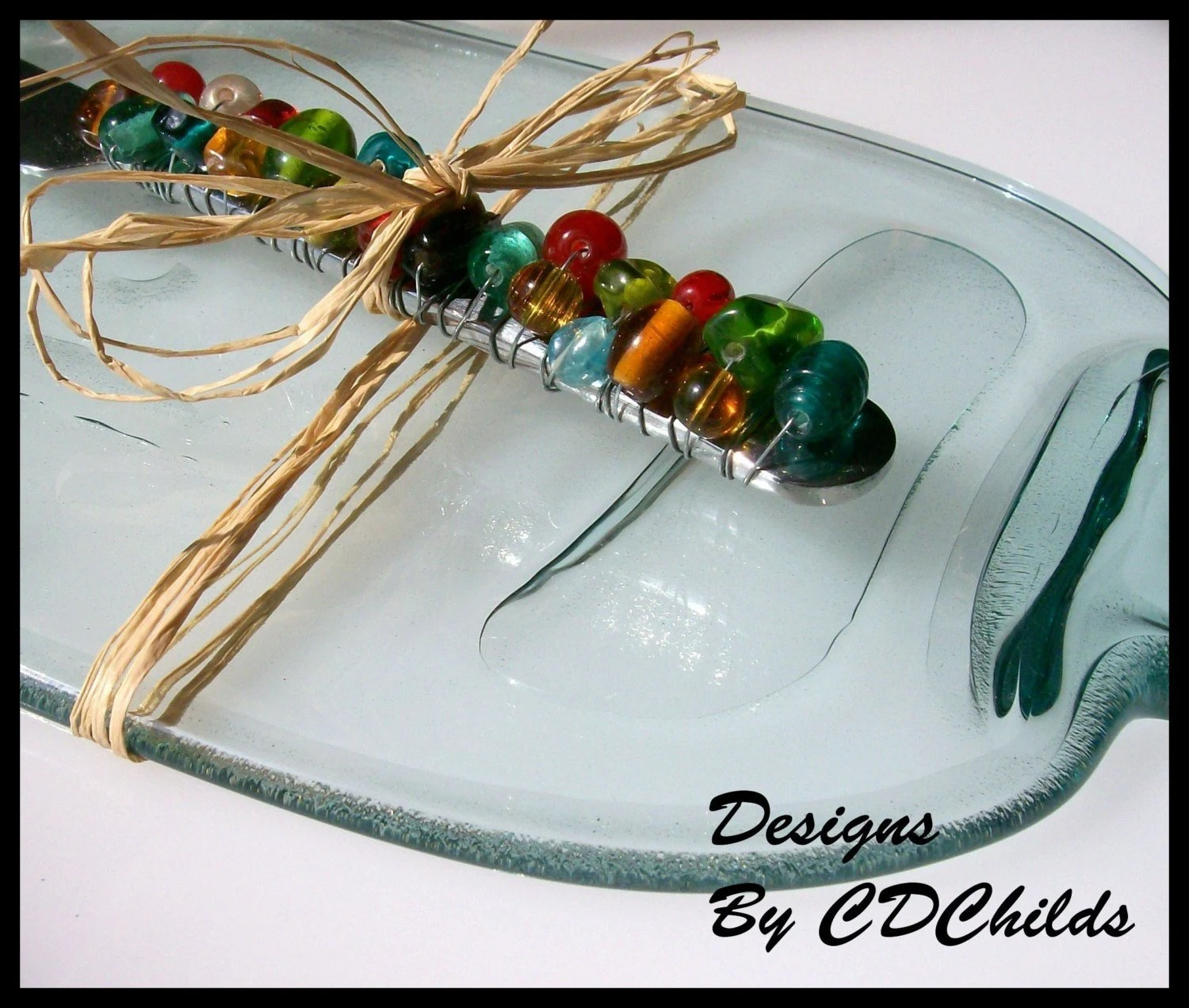 Wine Bottle Serving Tray (Clear) With BEADED CHEESE SPREADER (Large Eco Friendly, Recycled and Upcycled)