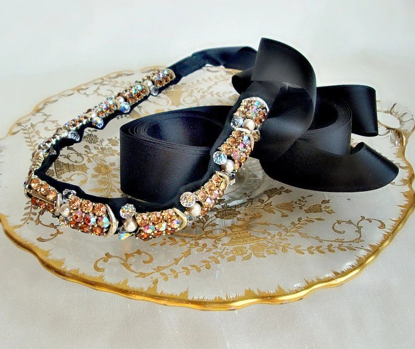 The Messina One of a Kind Vintage Fall Rhinestone Headband or Sash