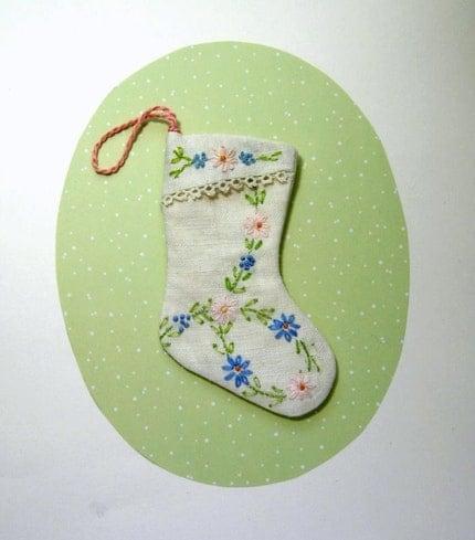 Embroidered Linen Mini Stocking