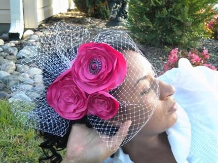 Hot Pink Bird cage veil