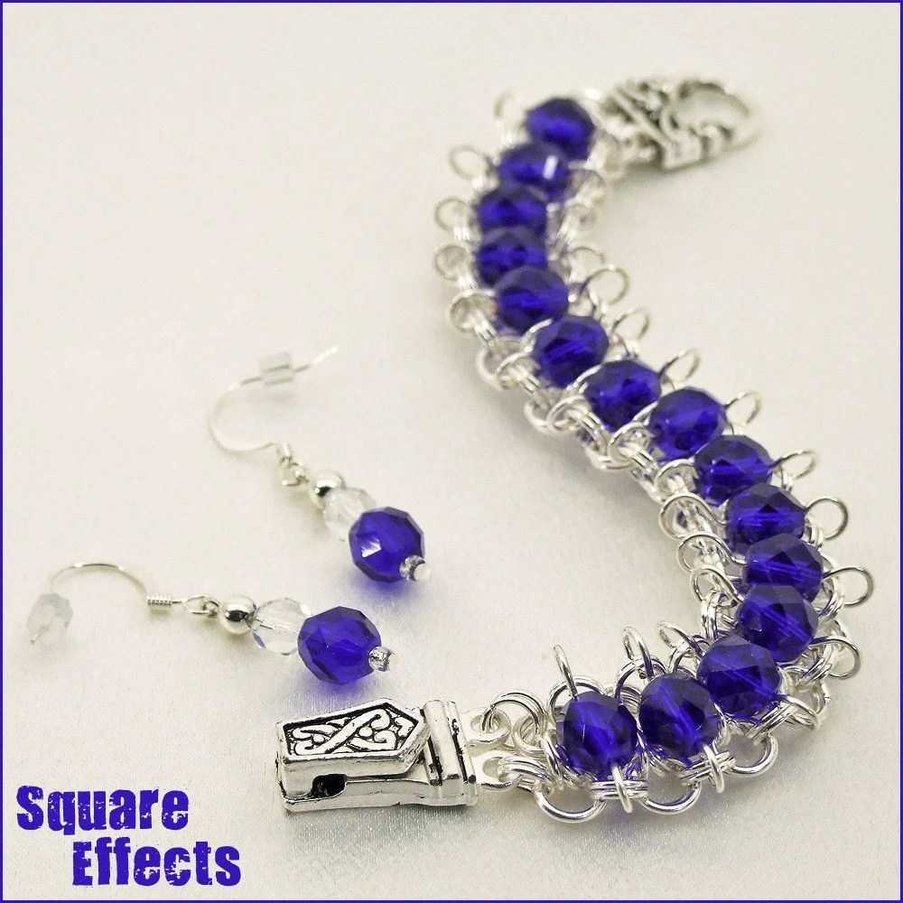SALE - EBTW - Mad About Metals - Indigo beaded chainmaille bracelet and earrings
