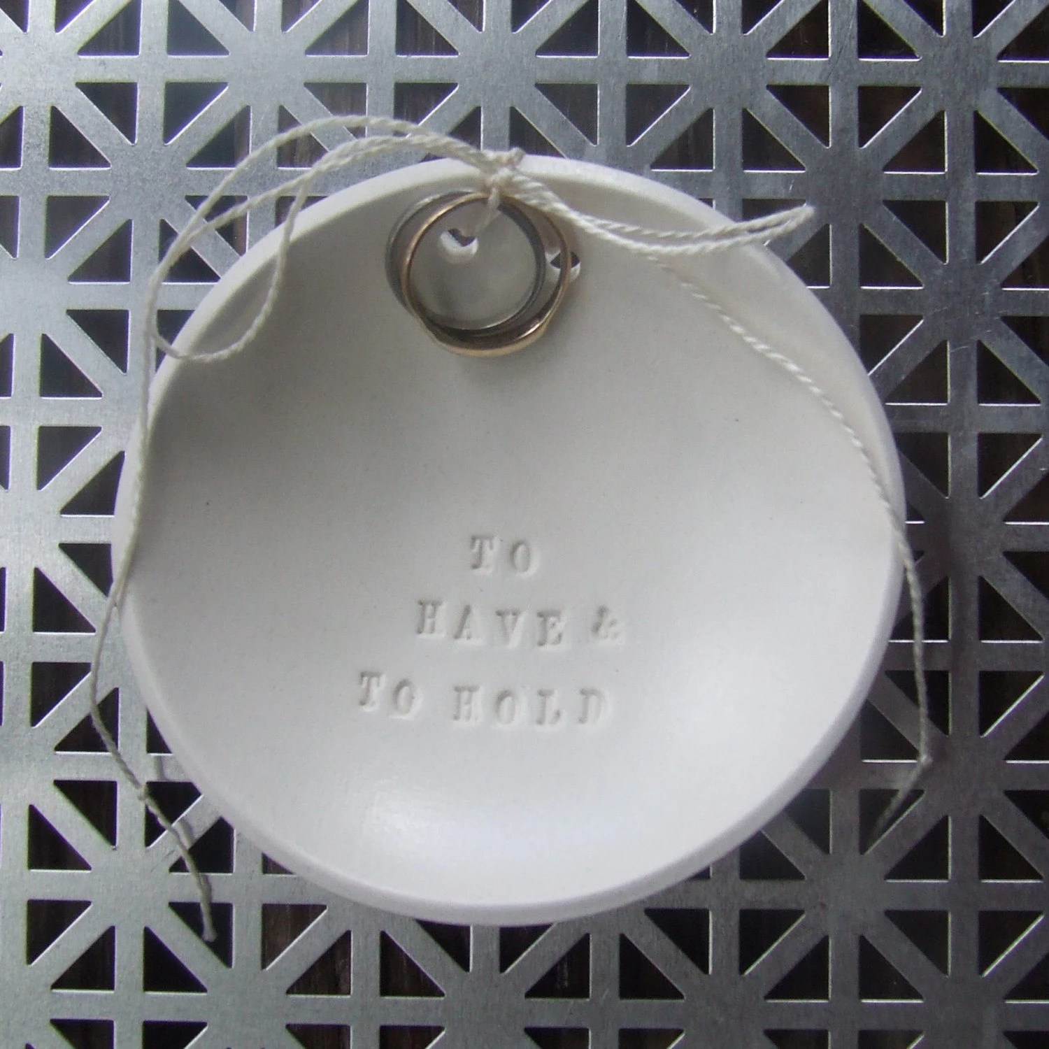 TO HAVE AND TO HOLD ring bowl with tiny text - wedding or commitment ceremony