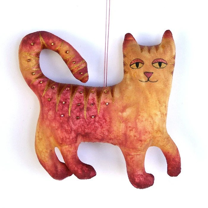 Hand Dyed Cat Ornament