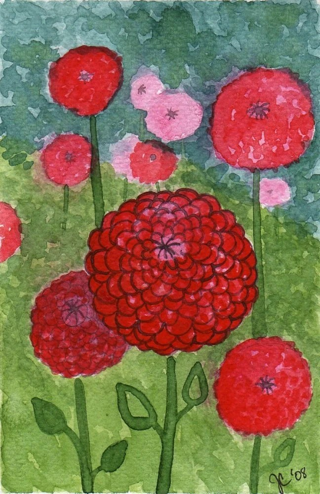 Red and Pink Zinnias -- Original Watercolor 4x6""