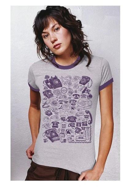 Chatterbox Vintage Telephones Womens Tshirt
