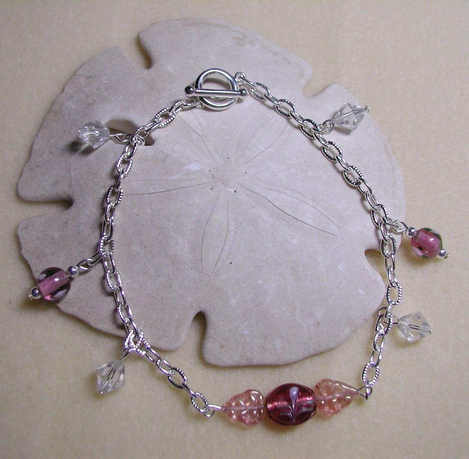 Lampwork Glass Flowers Ankle Bracelet