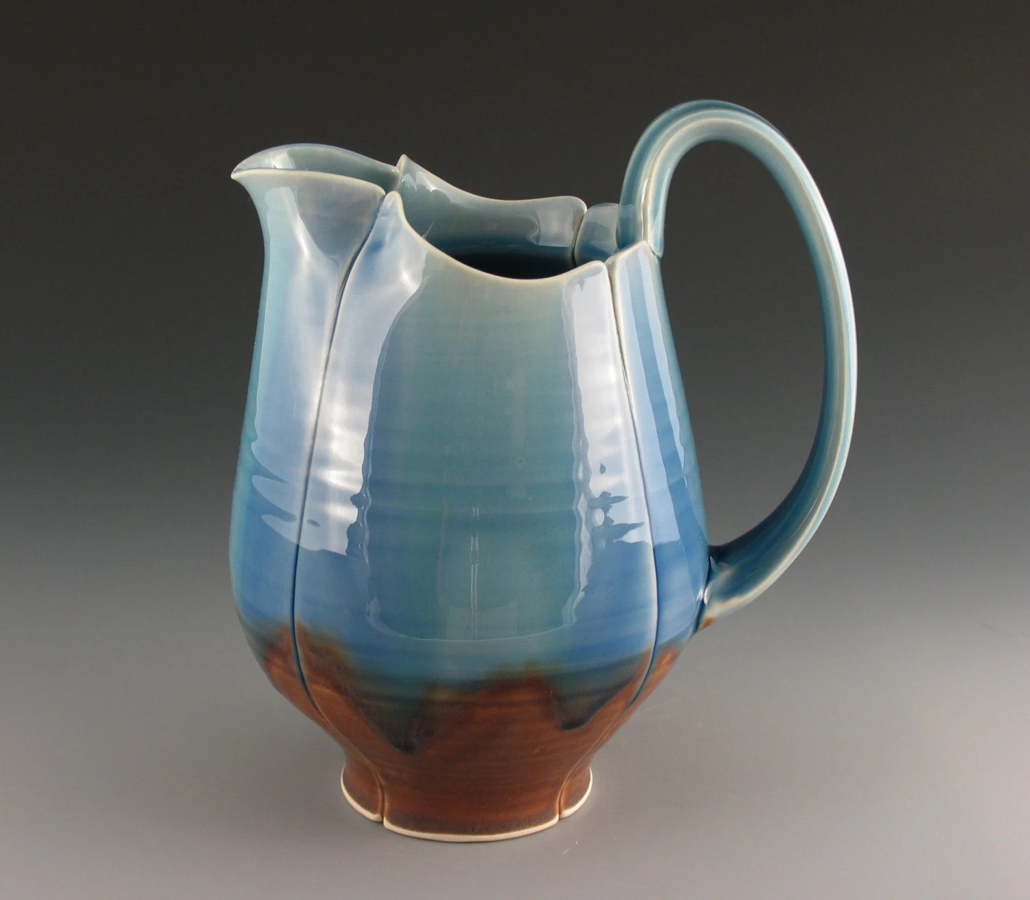 Medium Blue Stripe Pitcher 40 Oz.