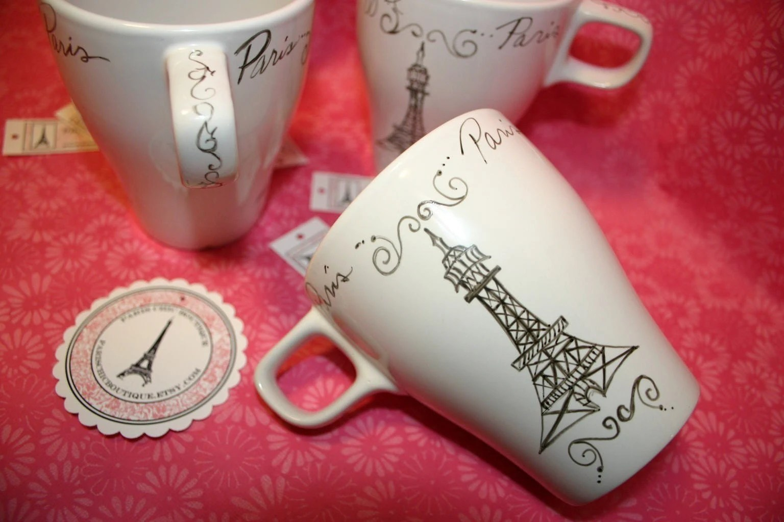 SALE - Paris Cafe Cups Mugs Set of 4 with Eiffel Tower in French