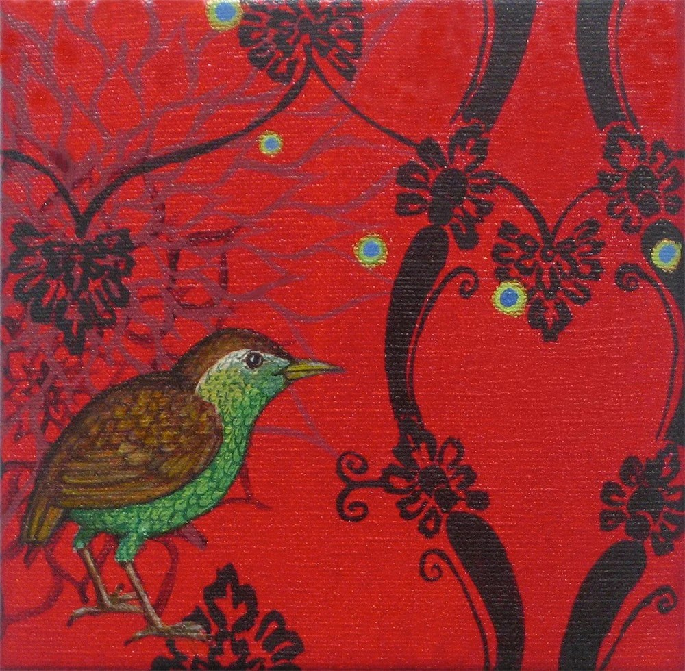 Endangered and Extinct Species series Stephen Island Wren oil painting