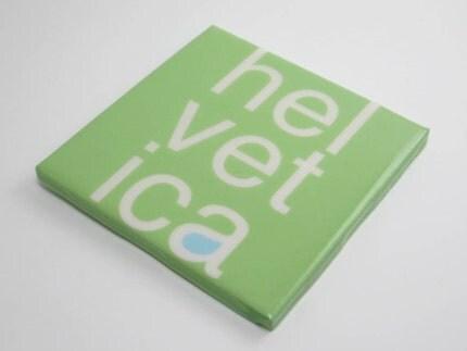 Helvetica Green Tile Coaster