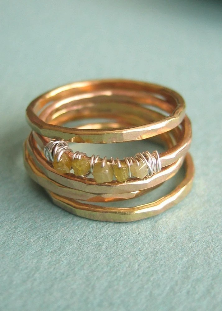 Diamonds in the Rough Wrapped Ring - Set of 5