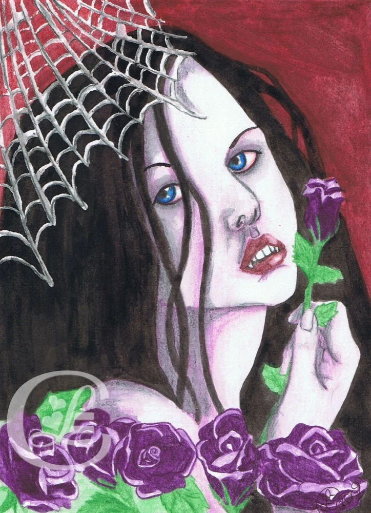 Purple Roses and Webs - Original Art by Lindsay Cheesewright