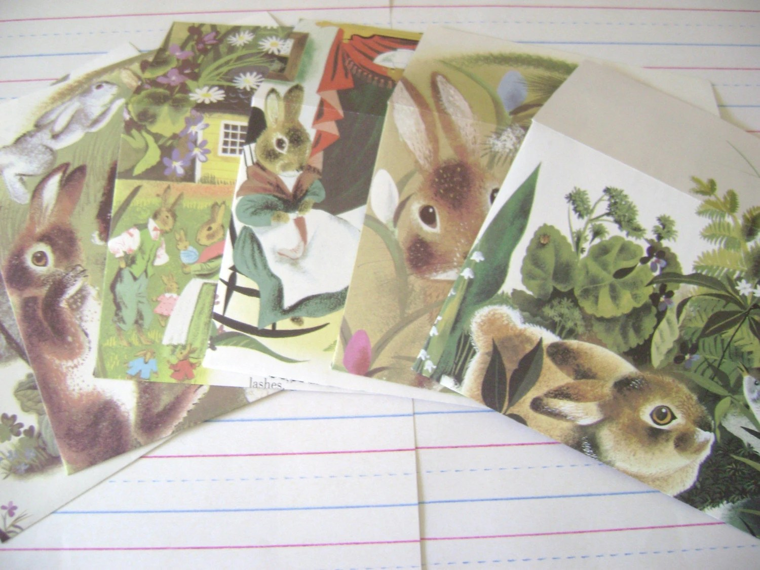 Bunny Notes , Handmade Eco Friendly Stationery Set , Set of 6