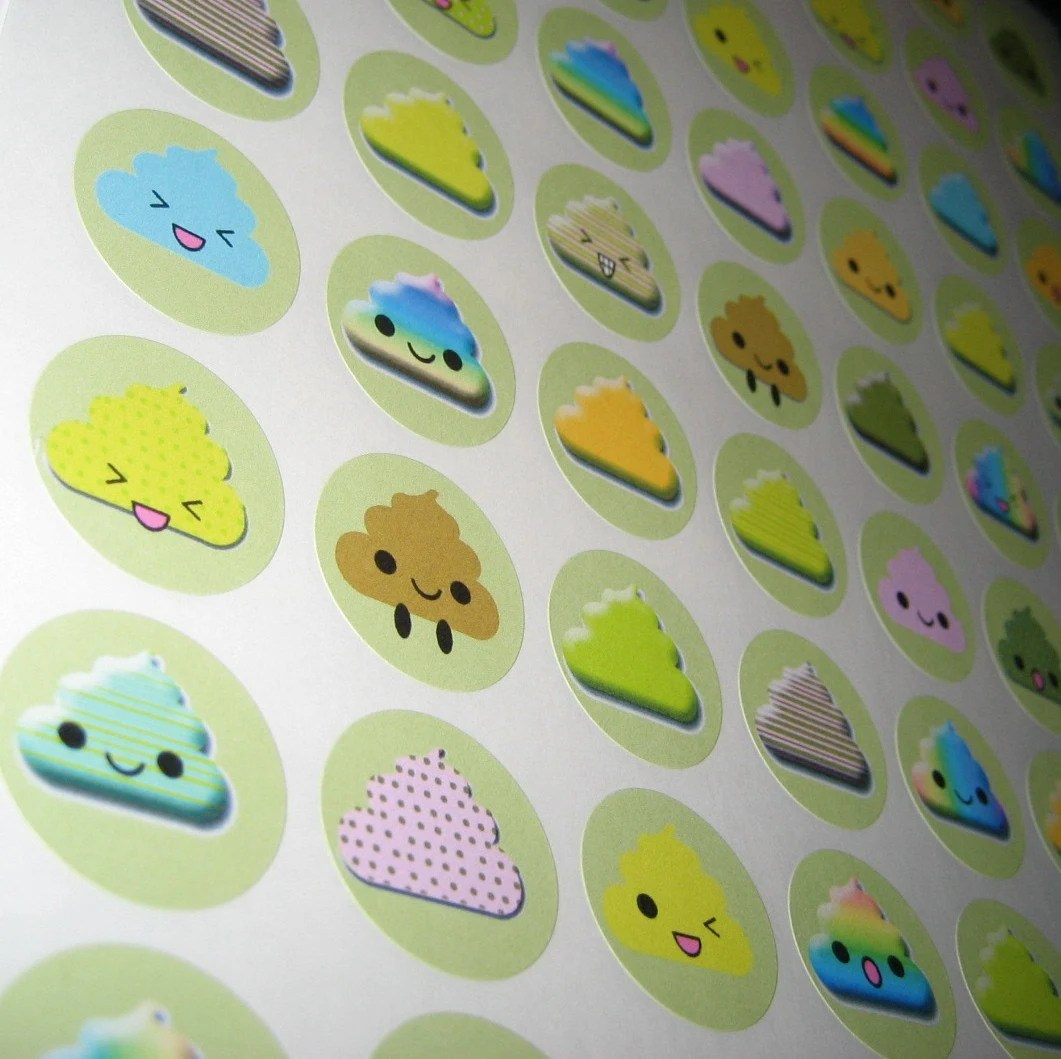 kawaii POOP stickers set