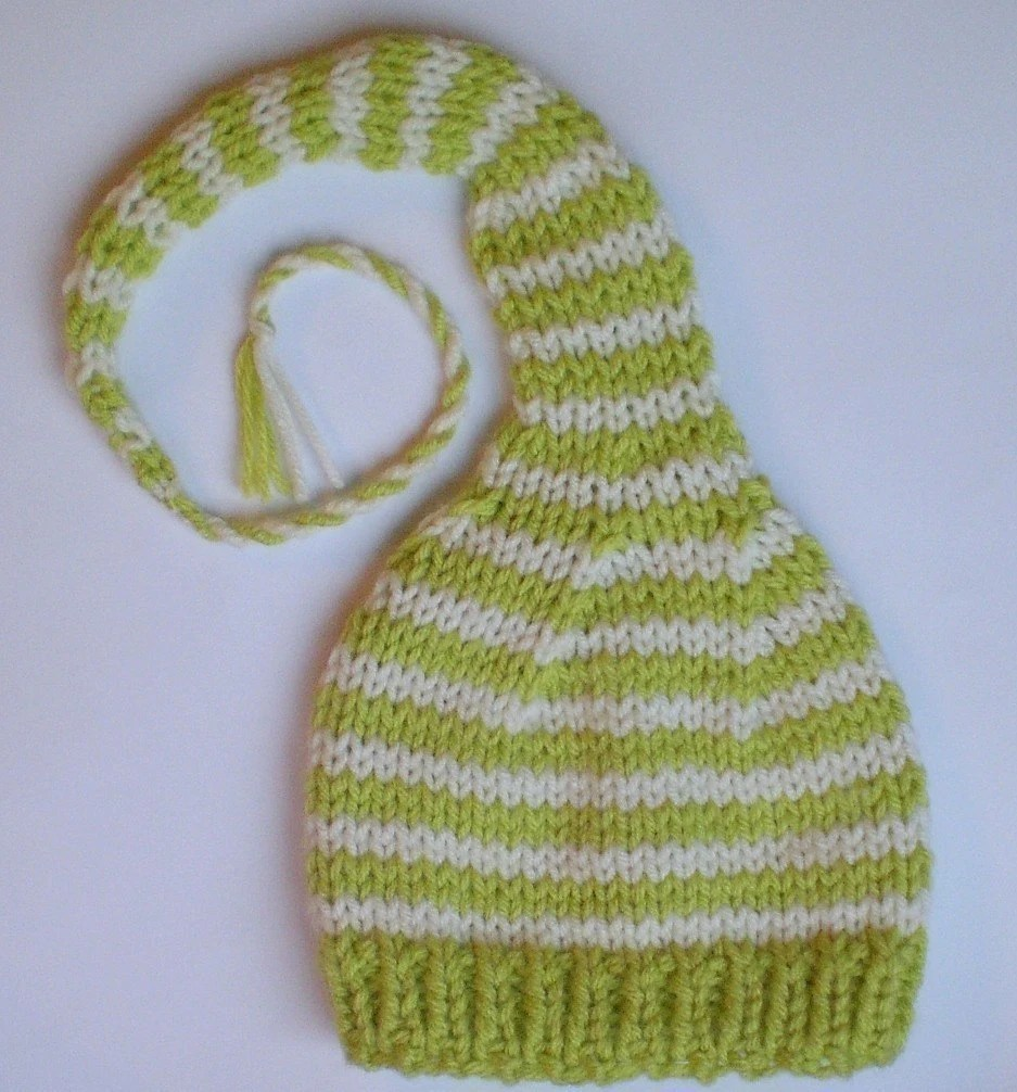 FEATURED WWW PARENTS COM        Custom Knit       Funky Newborn Munchkins Hat   Stocking Cap  lime green  and  white  stripes with cord and tassle