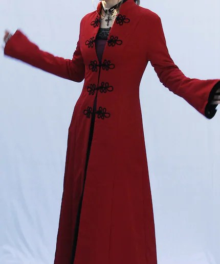 Nevermore - red gothic floor length coat with black handmade fastenings.