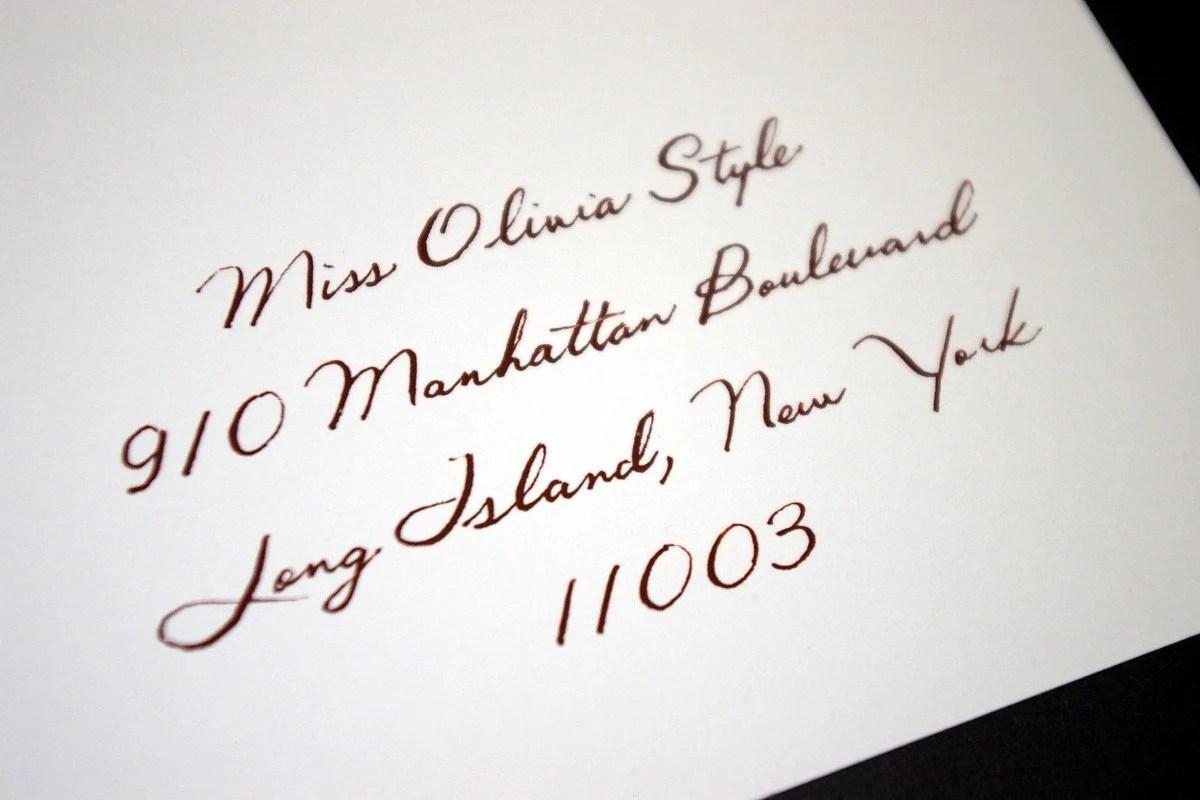 Handwritten Envelope Address Calligraphy - Olivia Style