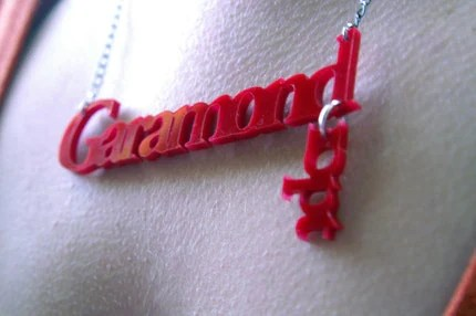 garamond 10pt type necklace, $25