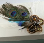 Papillon (Butterfly) Peacock Feather Brooch