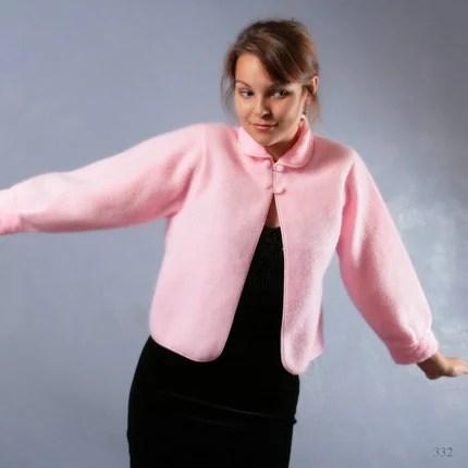 Vintage 60s BABYDOLL  LOLITA soft and warm FLEECE vintage cardigan or  PINK BOLERO, size Small, Medium, S / M