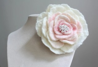 Rose - Felted Flower - Wedding Classic Corsage Brooch Pin or Hair Clip - Inspired by Vintage Style Jewelry - in Wedding Soft Salmon and bit of White - made from Wool and Silk