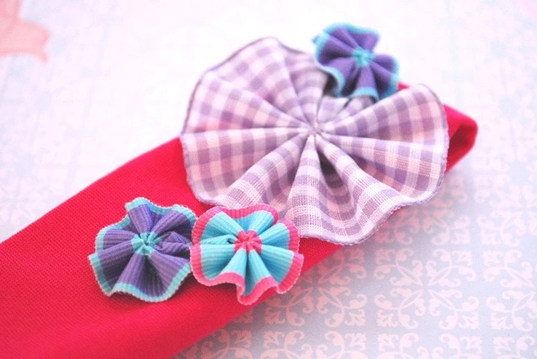 BELLA - Purple, Lilac and Aqua Ribbon Flowers on Fuschia Baby/Toddler Headband