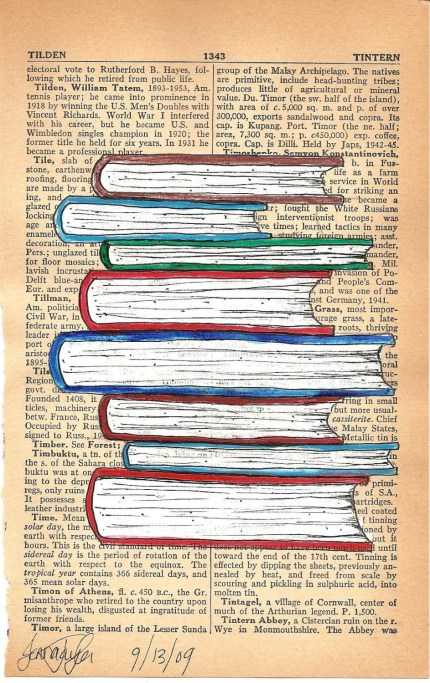 Books On Page - Original Mixed Media Illustration