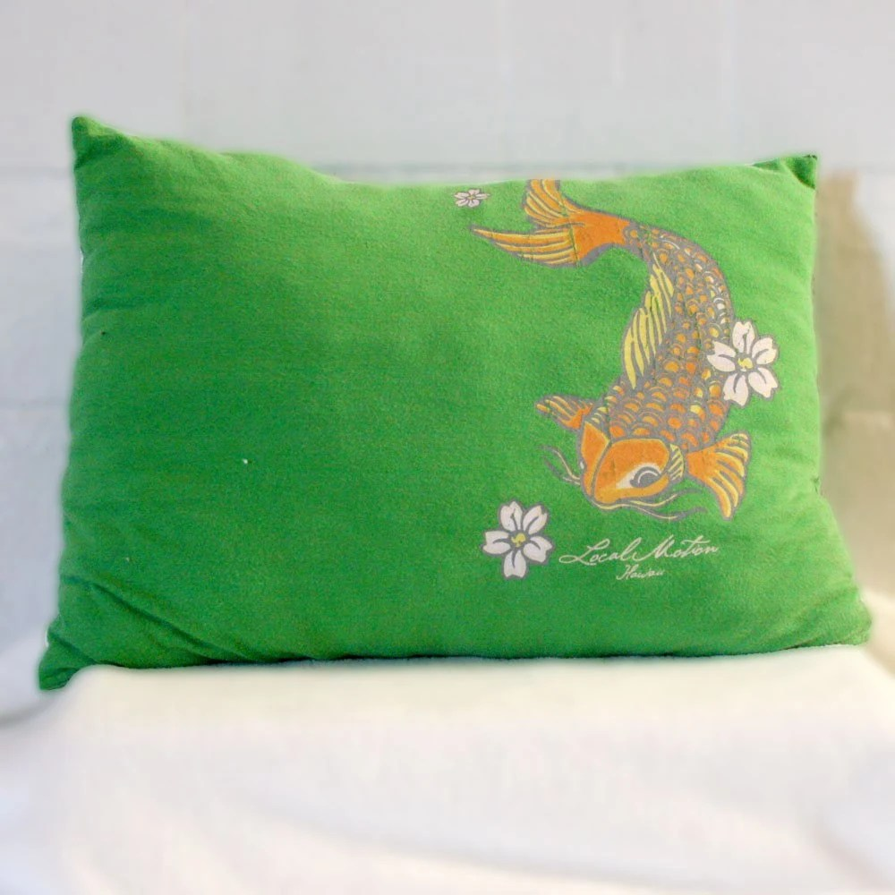 Japanese Koi T-shirt Pillow Up-cyled