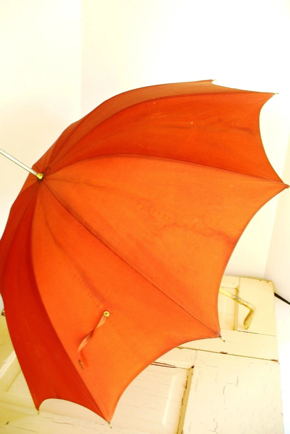 Antler Handle or Bone, Deep Autumn Orange Antique Umbrella