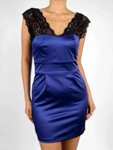 Satin Royal Blue and Black Lace Party Dress - The Sabrina
