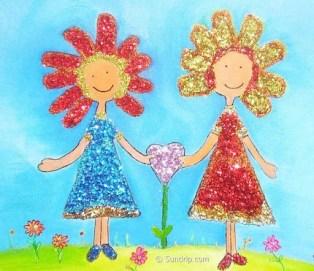 Best Friends Glitter Glue Art Flower Girls Original